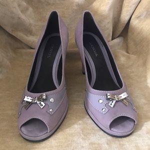 Aerosoles lavender purple sz 7 heels suede metal